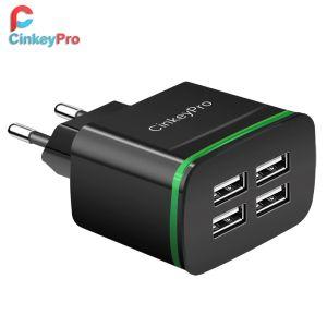 Caricabatterie USB CinkeyPro per iPhone Samsung Android 5V 4A 4-Ports Cellulare Carica rapida universale Adattatore da parete a LED