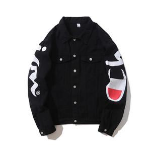 Outono Inverno Mens Hip Hop Jacket Demin Kanye West Masculino Carta Solta Impressão Outwear Jaqueta Casacos Destoreados Tendência Marca de Roupas Tops