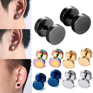 Black Stud Earrings Men Women Faux Gauges Ear Plugs Tunnel Stainless Steel Earrings 1 Pair 8mm