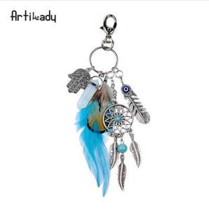 Artilady doğal opal taş dreamcatcher anahtarlık çanta charm moda gümüş boho takı tüy kadınlar için anahtarlık