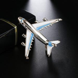 10 pz Cute Little Airplane Spilla Blu Rosso smalto color argento metallo Spille Pin Fighter Aircraft modello Jewelry