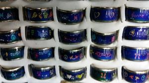 10mm multicolore motif coeur lunes Peach coeur cartoon humeur anneau mix design