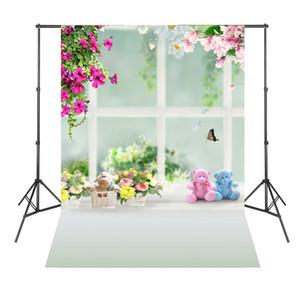 스튜디오 도구 장비 핑크 꽃 귀여운 곰 아기 신생아 배경 사진 Estudio 사진 Baby Shower Backdrop