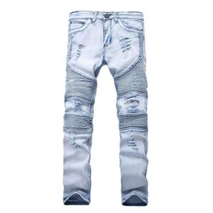 Novo Designer Mens Jeans Skinny Com Magro Elástico Denim Moda Bicicleta Calças De Brim Dos Homens de Luxo Calças Rasgado Buraco Jean Para Homens Plus Size 28-38
