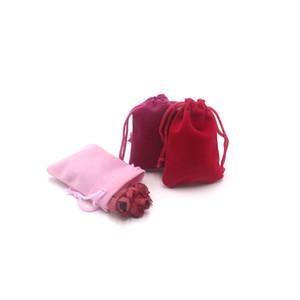 200pcs / lot 5x7cm imballaggio Gift Bag con coulisse sacchetto del velluto sacchetto per i monili di nozze Cose partito Bead immagazzinamento nel contenitore all'ingrosso