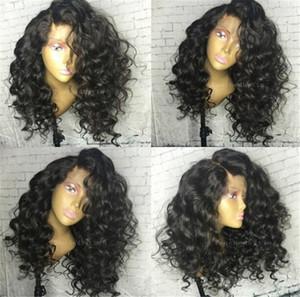 Parrucca anteriore del pizzo riccio di colore nero naturale all'ingrosso / parrucca piena del pizzo glueless 100% parrucca brasiliana dei capelli umani in magazzino