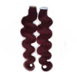 "Bant Saç Uzantıları Remy 40 adet Cilt Atkı Saç Uzantıları 20 ""22"" Fabrika Fiyat 100% İnsan Saç Uzantıları Ucuz 7A"