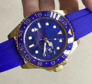 Presente de Natal de luxo Rosto de borracha azul cerâmica moldura de ouro Stainless Steel Homens Automatic Relógios Modern Mens Relógios Mecânicos Preços