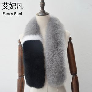 100cm Long Real  Fur Collar Patchwork Color Ring Female  Fur Collar Scarf for Womens 100% Genuine Scarves