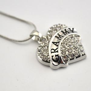 Mektup YAYA / GRAMMY Rodyum Kaplama Çinko Köpüklü Kristaller Ile Çivili Kalp Charm Kolye Yılan Zincir Kolye Takı