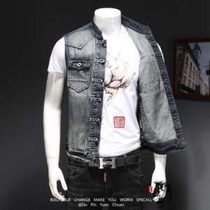 남성 데님 조끼 빈티지 민소매 세척 청바지 양복 남자 빈티지 디자인 카우보이 찢어진 재킷 양복 조끼 남성 캐주얼 정장 조끼