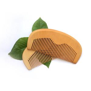 Madeira de pêssego Grooming Pocket Barba Pente Atacado de Alta Qualidade Artesanal Verde Sândalo Boi Chifre Cabelo Pente de Presente Artesanato Souvnirs