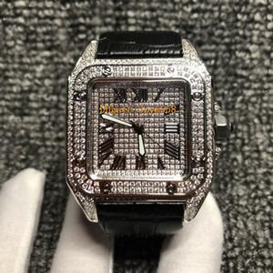 Reloj de diamante completo de alta calidad movimiento de cuarzo hombres 42mm 3 color correa de cuero 316 conjunto de acero inoxidable diamante Hip Hop reloj de moda