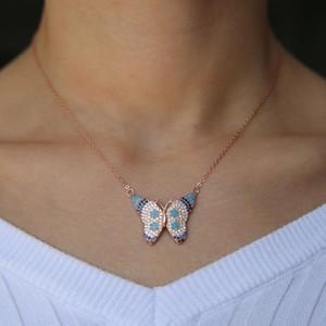 골드 실버 장미 골드 3 색 화려한 아름다운 나비 목걸이 보헤미아 스타일 925 스털링 실버 포장 된 cz 청록색 패션 주얼리