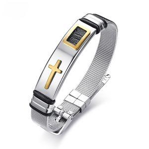 Comprimento ajustável Dos Homens Cruz Pulseiras para As Mulheres de Aço Inoxidável Pulseira Pulseira Cuff Bracelet Designer de Oração de Cristo Masculino Jóias
