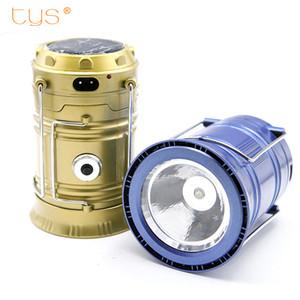 Lanterne solaire portative LED camping lumière rechargeable intégrée batterie au lithium lampe de la main de camping en plein air Lanterna tente lumières