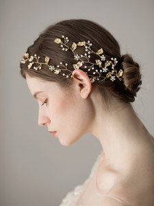 Chic Gold Leaf mit Shiny Crystals Handmade Haarschmuck für Brides Hochzeit Headpiece Bridal Headbeads Hairwear