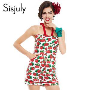 Sisjuly été femmes combinaison vintage jarretelles shorts poche pin up fraise imprimée 2018 sexy partie fille chic combinaison