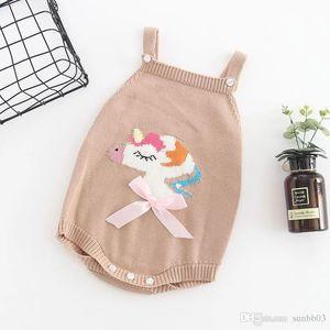 New Automne Infant Bonneterie Barboteuses filles Unicorn Knitwear Pull Jarretière Barboteuses Tout-petits enfants Climb Vêtements Cavaliers W278