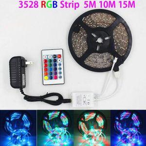 SMD 3528 5M 10m 15m 300led RGB LED Strip Light Etanche Éclairage extérieur Éclairage multicolore Ruban 24Keys DC12V Adaptateur Set