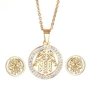 Stainless Steel Hamsa Fatima Palm Necklace lucky Turkish Kabbalah hand pendants earring set for women fashion jewelry