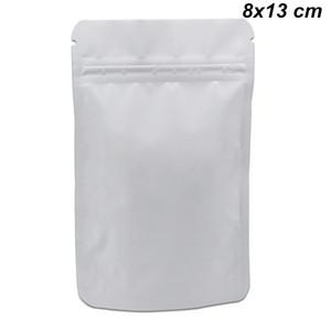 8x13 cm 100pcs blanco mate puro Doypack Mylar de la cremallera de bloqueo de almacenamiento de alimentos bolsa de alimentos se levanta del papel de aluminio de grado alimenticio Embalaje Paquete Bolsa