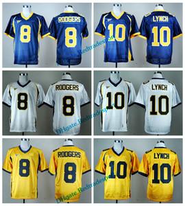Vintage California Golden Bears College camisetas de fútbol oro barato 8 Aaron Rodgers 10 Marshawn Lynch Camisetas de fútbol de la universidad M-XXXL