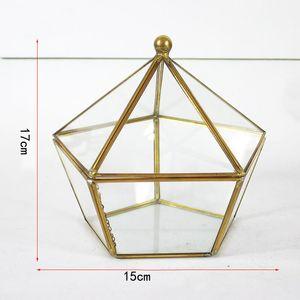 15*17CM Miniature Glass Terrarium Geometric Diamond Desktop Garden Planter Succulent Plants Glass House Indoor Gardening Home Decor HH7-1184
