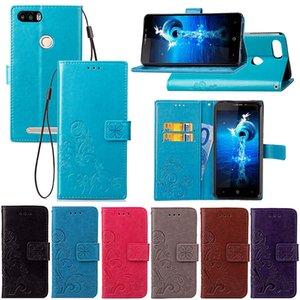 Per Leagoo Kiicaa Power Case Cover Custodia in pelle Stand Lucky Four Leaf con portafoglio Porta carte di credito