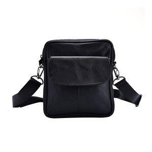 Sac à bandoulière simple portable en cuir de vache Hommes d'affaires de conception Brief Homme en cuir noir véritable Mini Crossbody