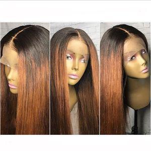 Nuova parrucca sexy Ombre 20 pollici 180% densità Glueless Parrucche rettilinee bionde in pizzo dritto con parrucche sintetiche resistenti al calore dei capelli del bambino per le donne nere