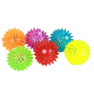 Pet Supply Whistle Flashing Thorn Ball Pet Toy, Glowing Hedgehog Ball Bouncing Balls Fun Toy - 1 set of 6 colors