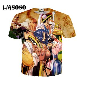 Liasaso 3d الطباعة نمط المرأة رجل واحد قطعة لوفي نيكو روبن الزى الصيف قميص البلوز قصيرة الأكمام عالية الجودة X0926