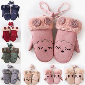 Winter Gloves Kids Girls Boy Children Faux Suede Rabbit Fur Twist Gloves with Full Finger Warm Mittens with Long Rope