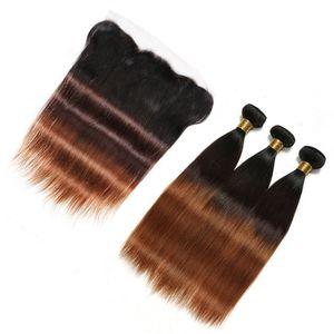 # 1B / 4 / 30 Medium Auburn Ombre Peruvian 버진 인간의 머리카락 묶음 대머리 3Tone 옹 브르 13x4 레이스 정면 폐쇄