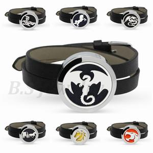 Nuovi arrivi Dragon Twist-off inox Profumo Aroma Locket Essential Oil Diffuser Bracciale PU Leather Wristband 10p pad gratuiti