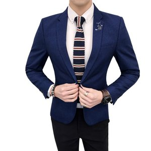 TFETTERS Sonbahar Moda Erkek Suit Blazer Ceket Bir Düğme Düğün Parti Slim Fit Blazer Erkekler için Yüksek Kalite