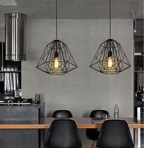 Vintage estilo nórdico Industrial colmena jaula de metal lámpara de techo colgante sala de estar barra loft lámpara colgante