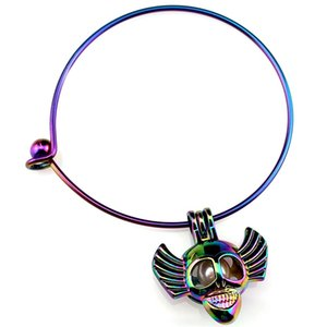 B-C832 Rainbow Halloween Skull  Cage Locket Wrist Cuff Bangle Girl Women Expandable Wire Steel Bracelet Bangle