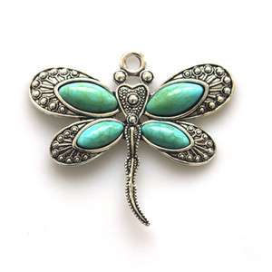 2pcs Vintage Stone Pendant Fashion Jewelry new 2017 Dragonfly Animal Antique color Pendant DIY Necklace Jewelry Making