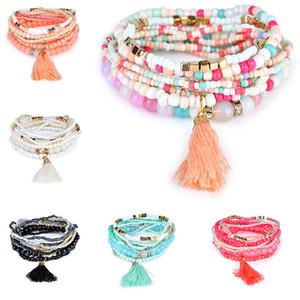Nouvelle Bohême Plage Multilayer Perles Tassel Charm Bracelets Bracelets pour les femmes cadeau poignet Mala bracelet et bateau de baisse de sable