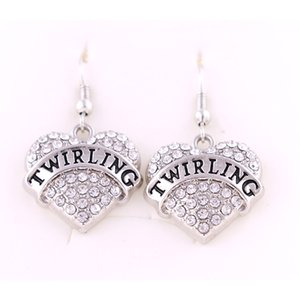 Lettering TWIRING Heart Shape Love Earrings Studded With Sparking Crystals Pendant French Hook Earrings Commemoration Day Fashion Jewelry