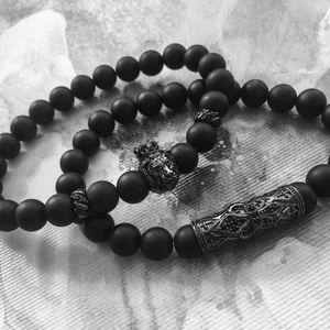 2 قطعة / المجموعة أزياء الرجال سوار 8 ملليمتر الحجر الطبيعي سحر الأسد سحر التيتانيوم الصلب مرساة أنبوب عطلة هدية مجوهرات