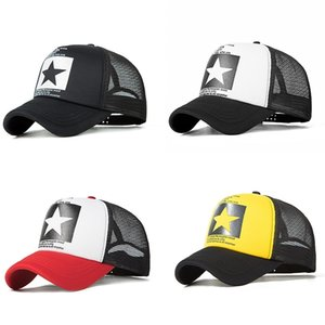 2018 New Five-Pointed Star Pattern Half Mesh retro gorra de béisbol sombrero meshhat Fashion Star pentagram retro gorra de béisbol mujeres moda