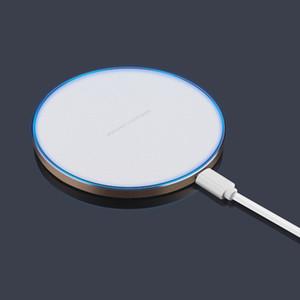 Hızlı Qi Kablosuz Şarj Pad Güç Ultra-tihin Ile Renkli Kenar Ile iphone X 8 artı Samsung S8plus 8 Perakende kutusu Ile Tüm Qi-abled cihazlar