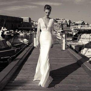 Zoog studio 2019 bainha de renda vestidos de casamento mangas compridas vestido de noiva com mergulhando com decote em v backless lace apliques chiffon andar de comprimento 2017