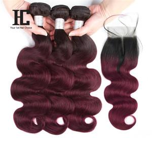 HC Ombre Brasileño Body Wave Hair 3 Bundles con cierre 1B 99J Extensiones de cabello humano de dos tonos con 4 * 4 Lace closure Middlepart