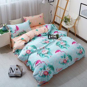 Pássaro Impresso #Wewish rosa azul edredon cobrir Set animal cama Set completo rainha rei Cute Girls Bed Tampa Colcha