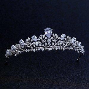 Высокое качество свадебные невесты цветок кубического циркония девушки белый покрытием Циркон тиара корона / оголовье для выпускного вечера S918
