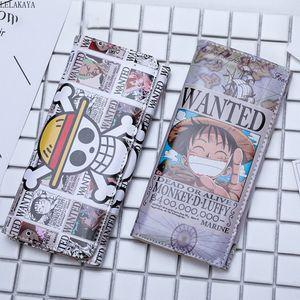 ONE PIECE Anime Action-Figur Monkey D. Ruffy gedrucktes PU-Leder-Karikatur Lange Folding Mappen-Kartenhalter-Beutel-Mappe-kreatives Spielzeug